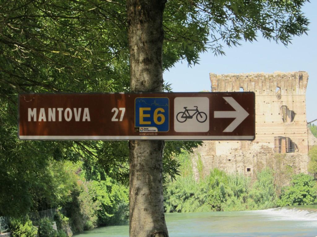 De fietsroute van Borghetto naar Mantova