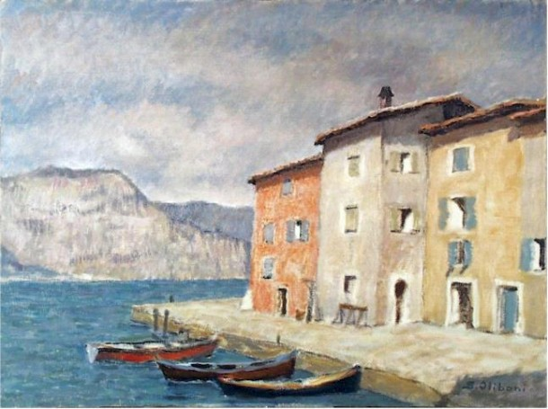 This wonderful painting by Silvio Oliboni (1912-1976), was created at Lake Garda in 1937. Do you recognize this place?